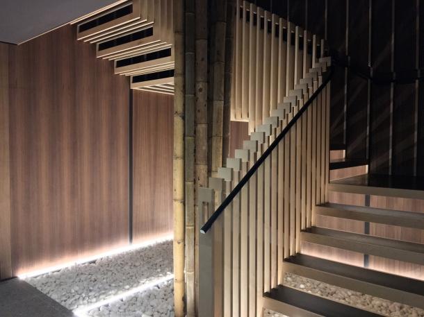 zen rock garden stairwell at yen the strand