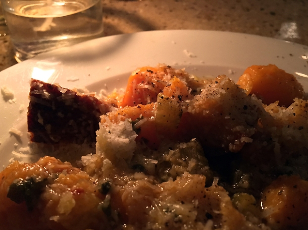 baked squash and sourdough with parmesan at little duck picklery