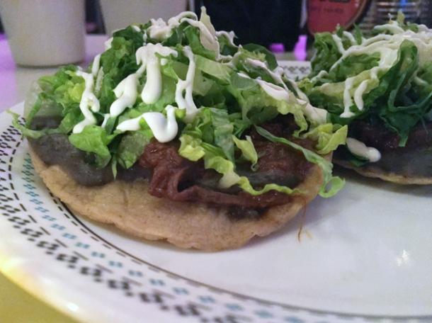 beef brisket tostadas at tacos del 74 dalston
