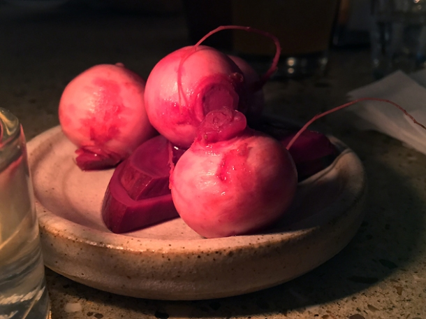 pickled radishes and beetroot at little duck picklery