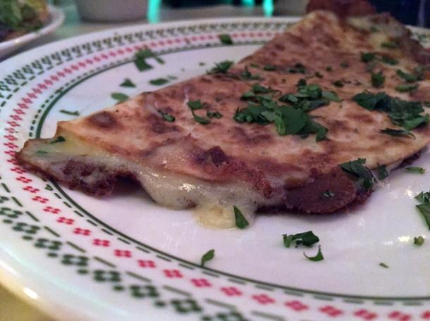 plain quesadilla at tacos del 74 dalston
