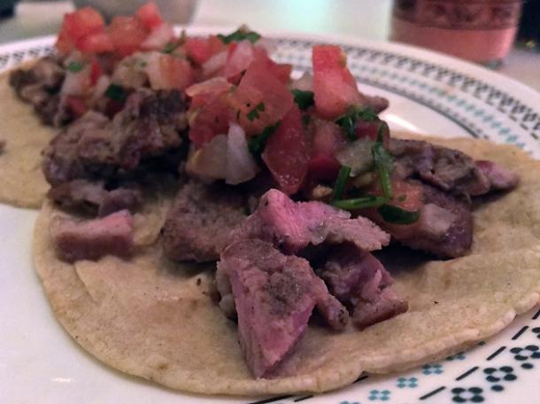 pork ribeye tacos at tacos del 74 dalston