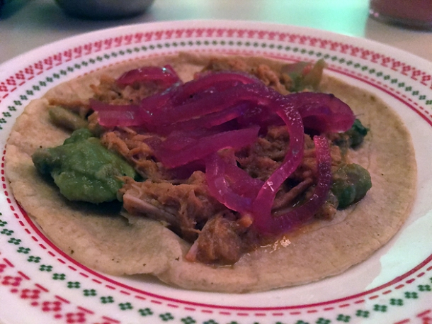 pork tacos at tacos del 74 dalston