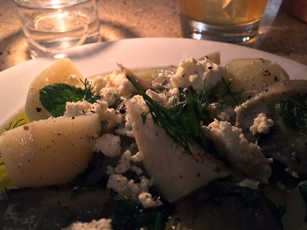 potatoes, dill, salted cheese and artichokes at little duck picklery