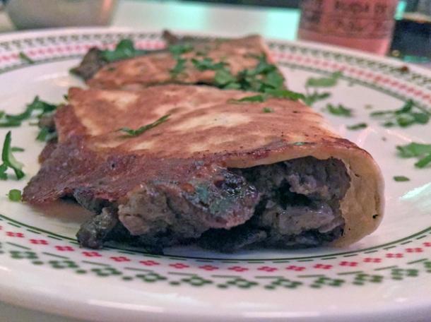 steak quesadilla at tacos del 74 dalston