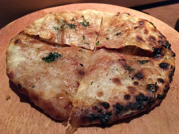 bacon-stuffed kulcha at indian accent london