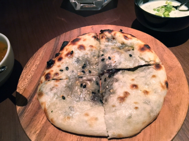black pudding naan at indian accent london