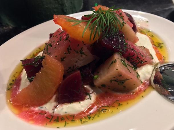 beetroot and orange salad at sabor