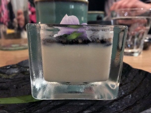 black sesame panna cotta at sushi atelier great portland street