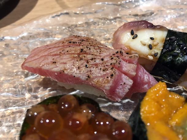 chutoro tuna nigiri at sushi atelier