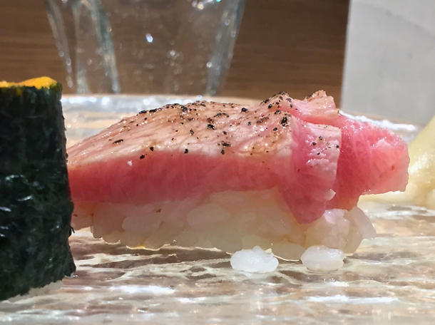 fatty tuna nigiri at sushi atelier