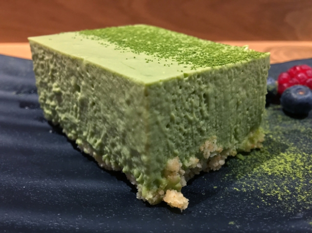 green tea cheesecake at sushi atelier