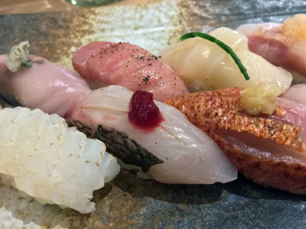 horse mackerel nigiri at sushi atelier