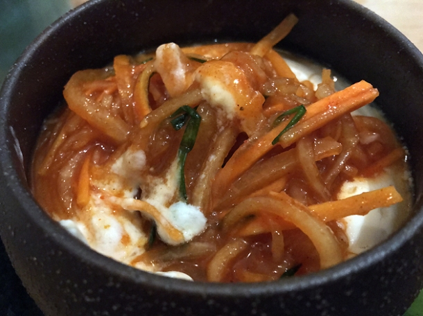 tofu and kimchi at sushi atelier