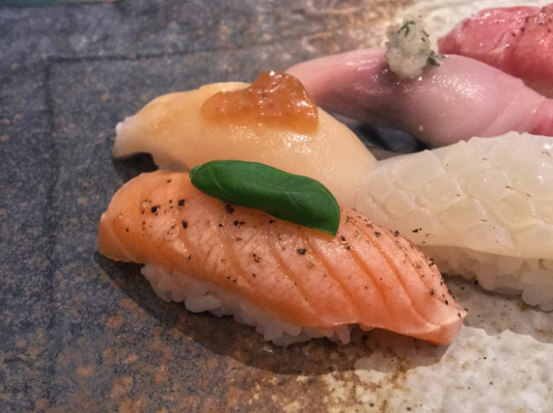 salmon nigiri at sushi atelier