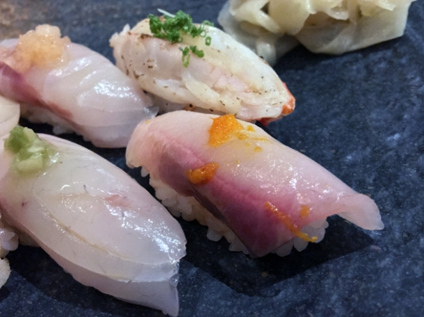 sea bream nigiri at sushi atelier