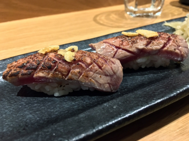 wagyu nigiri rolls special at sushi atelier