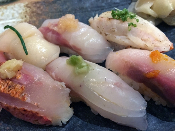 yellowtail nigiri at sushi atelier