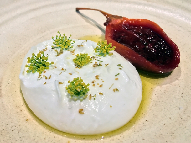burrata with confit tamarillo at hide ground