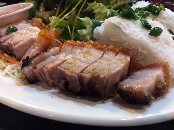 crispy pork belly with vermicelli at mrs le's