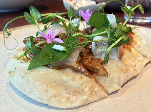 morels and lardo flatbread at hide ground