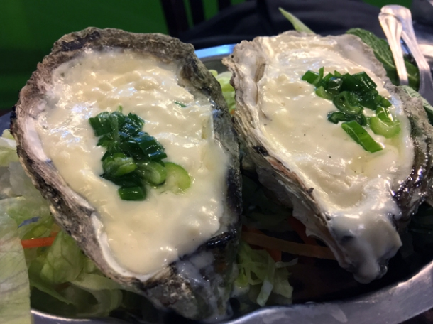 oysters with cheese sauce at mrs le's