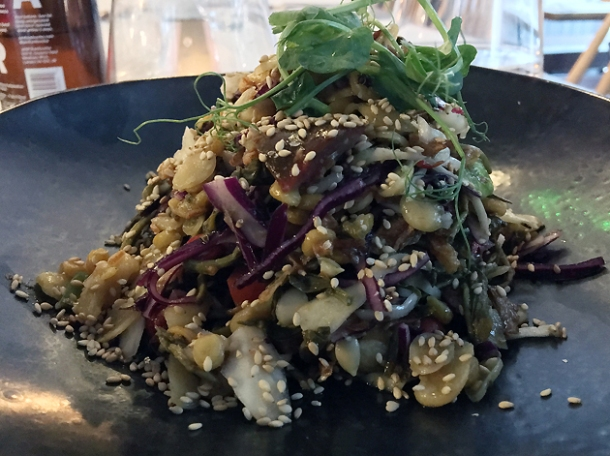 pickled tea leaf salad at lahpet shoreditch