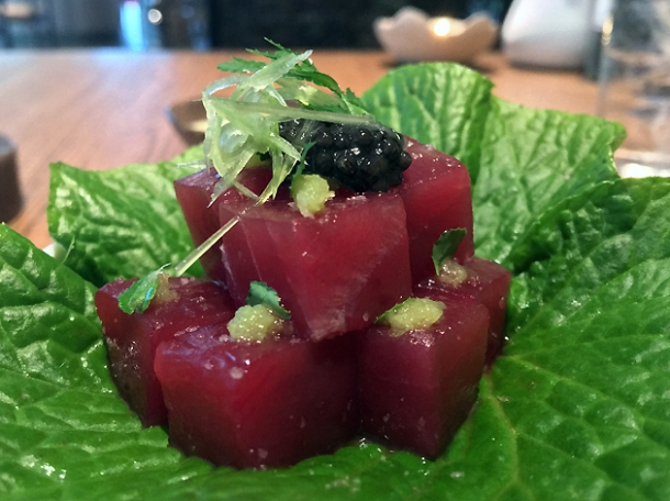 raw tuna with caviar and wasabi at hide above