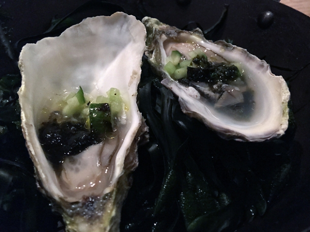 roasted oysters with seaweed at brat