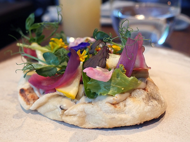 sesame labneh and pickled vegetable flatbread at hide ground