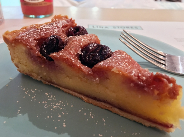 cherry and almond tart at lina stores restaurant