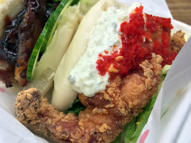 fried chicken bao from yum bun at street feast woolwich public market