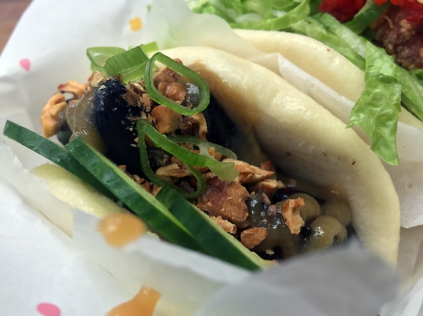 mushroom bao from yum bun at street feast woolwich public market