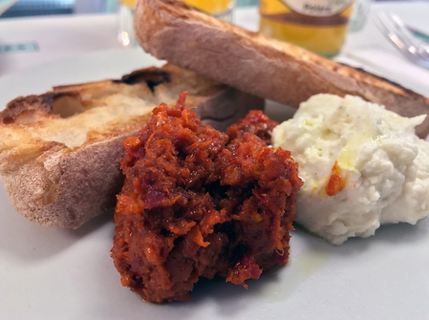 nduja and ricotta at lina stores restaurant