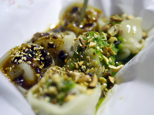 pork and chive dumplings and mushroom dumplings from yum bun yumplings
