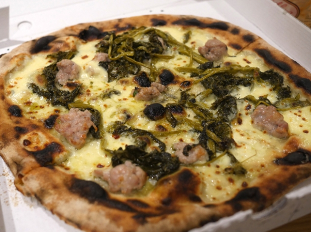 sausage and broccoli pizza from rust bucket at street feast woolwich public market