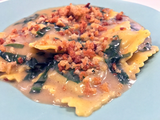 veal ravioli at lina stores restaurant