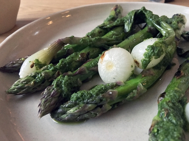 asparagus and onions at bright