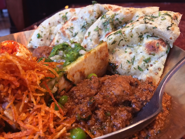 bone marrow keema and chilli cheese kulcha at brigadiers