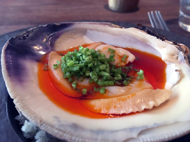 cherrystone clam in Sichuanese sauce at st leonards