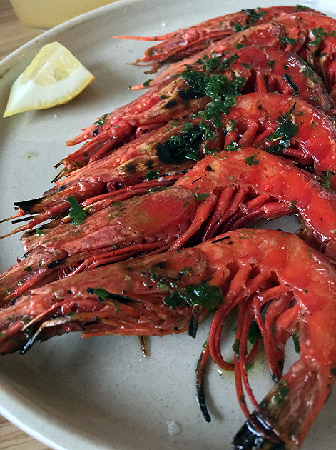 grilled red prawns at bright