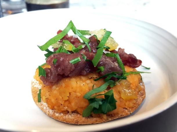 lentil cig kofte with beef tartare at kyseri london