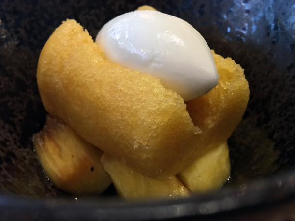 rhum baba with smoked pineapple and yoghurt sorbet at st leonards