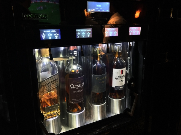 whiskey vending machine at brigadiers