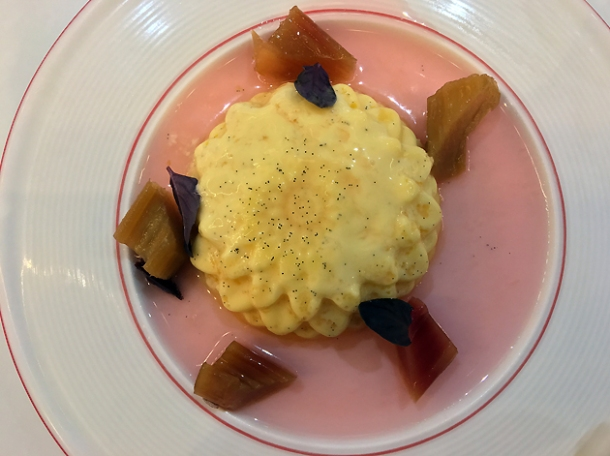 baked vanilla custard with rhubarb at bob's lobster