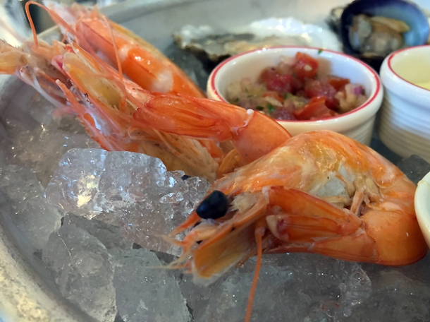 chilled prawns at bob's lobster