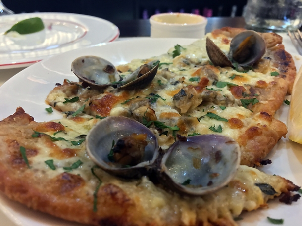 clam pizza at bob's lobster