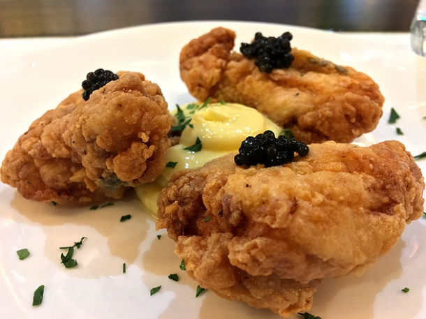fried chicken with caviar at bob's lobster