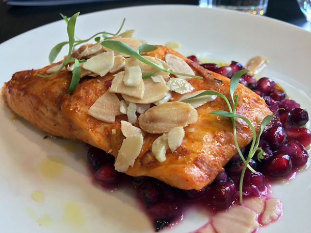 harissa trout with pomegrante and almonds at bob's lobster