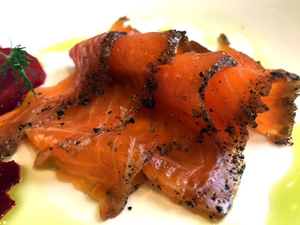 pastrami cured trout at bob's lobster